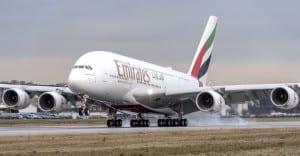 Uno de los A380 de Emirates.